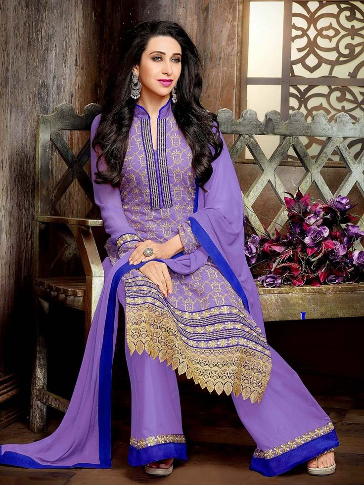 Stunning lavender color #Georgette #Kameez garnished with golden zari cutwork. Item code ; SLEB8010 http://www.bharatplaza.com/new-arrivals/palazzo-suits.html