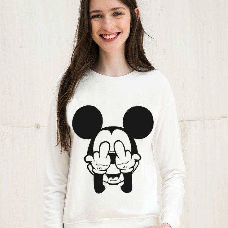 Mouse Cartoon Cute Print 2017 Casual Sweatshirt Women Hoodies Long Sleeve Kawaii Clothes Tracksuit Moletom White Sudaderas Mujer