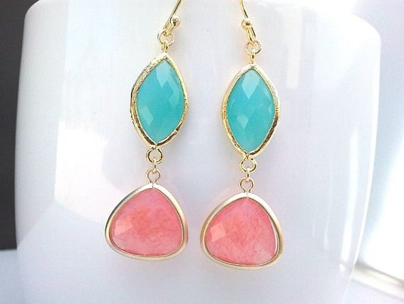 Spring Collection Coral Pink and Mint Blue gorgeous Earrings ,Drop, Dangle, Glass Earrings, bridesmaid gifts,Wedding jewelry