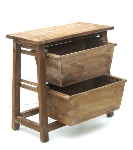 style ancien meuble a casier bac caisse de cuisisne salon table gueridon en bois