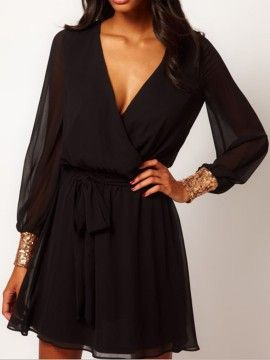 Shop Black Sequined Cuff Tie Waist Two-layer Wrap Dress from choies.com .Free shipping Worldwide.$14.99