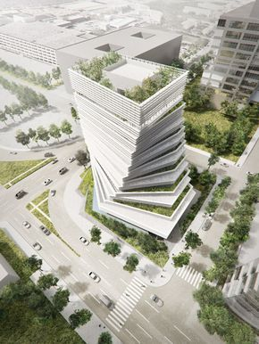 "Kengo Kuma To ""fuse Nature And Architecture"" With Twisted Rolex Tower Underway In Dallas - http://decor10blog.com/decorating-ideas/kengo-kuma-to-fuse-nature-and-architecture-with-twisted-rolex-tower-underway-in-dallas.html"
