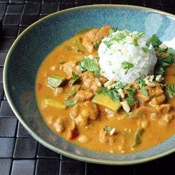 """Chef John's Peanut Curry Chicken Recipe - """"I decided to not follow any specific recipe from any particular country or culture, but instead I made a simple composite of every peanut curry I've ever come across. I didn't use coconut milk, as I feel that's a little too sweet and rich for the peanut butter. I loved how this came out, and I can't imagine it being any richer."""""""