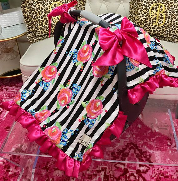 Watercolor Floral Stripe Canopy Blanket Car Seat Cover with