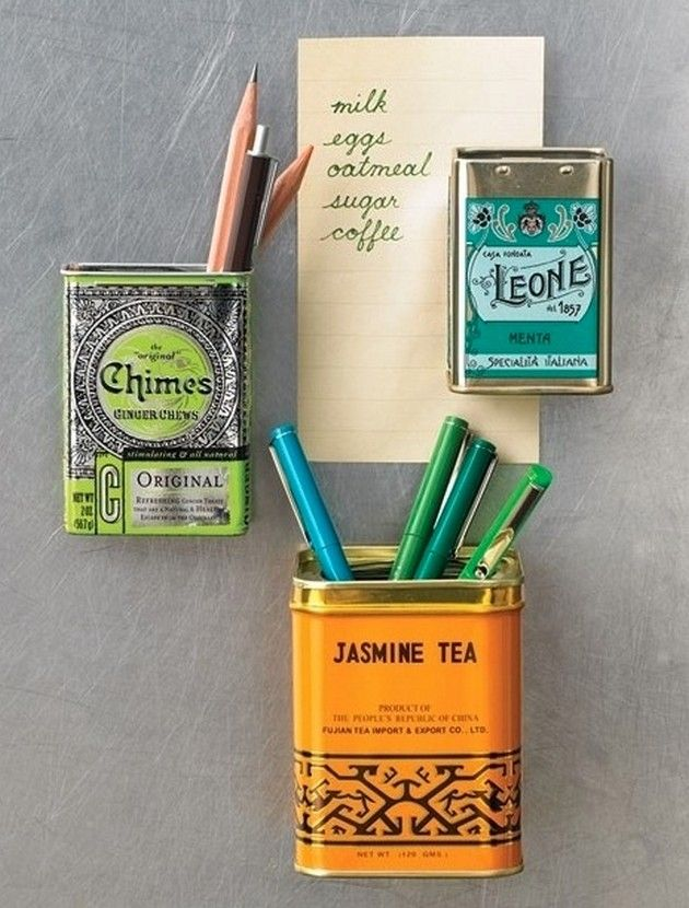Add magnets to tea tins and place on the fridge. I love this idea.