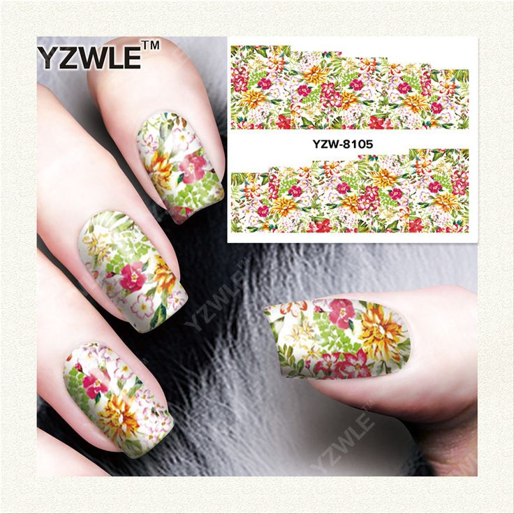 YZWLE 1 Sheet DIY Decals Nails Art Water Transfer Printing Stickers Accessories For Manicure Salon  YZW-8105