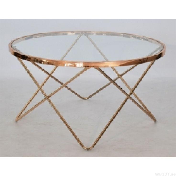 Melissa, ett runt soffbord i glas och mässing 85 cm