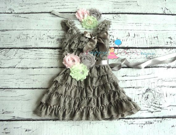 Vintage Grey Mint Lace Dress set by HappyBOWtique, $57.99 Girl's dress. Would look fabulous on Belle.