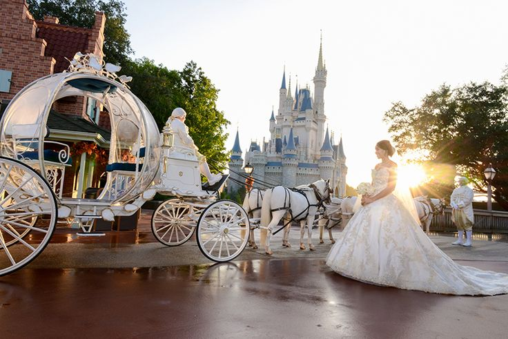 Cinderella's Coach arrives to escort a bride to her Walt Disney World wedding ceremony
