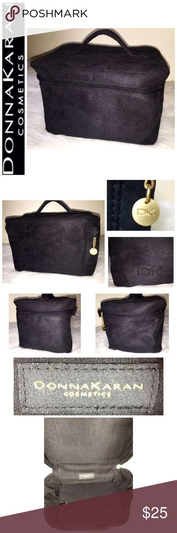 """Donna Karan Signature Travel Cosmetic Bag Donna Karan Signature Travel Cosmetic Bag, Beautiful Black Faux Suede Leather with Gold Tone Hardware, Very Spacious for All your Toiletries, Approx. Size is: 8""""x 4 1/2""""x 6"""", NWOT! DKNY Bags Cosmetic Bags & Cases"""