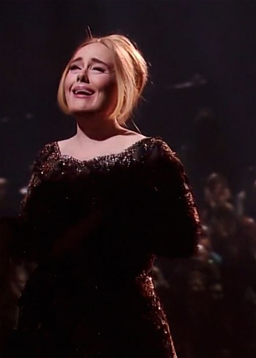 """Concert in Radio City Music Hall, N.Y. Nov. 2015. Adele emotional when she gets standing ovation after singing, """"When We Were Young""""! Screen Shots - hayward simmons"""