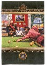 Царь Николай II и Григорий Распутин играют в русский бильярд