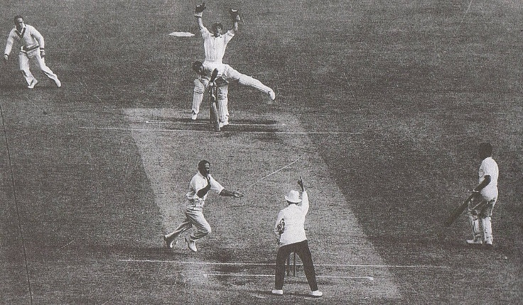 History of cricket. Sid Barnes, traps Lala Amarnath lbw in the first official Test between Australia and India at the MCG in 1948 When the Imperial Cricket Conference was founded in 1909, only England, Australia and South Africa were members. India, West Indies and New Zealand became Test nations before the Second World War and Pakistan soon afterwards.