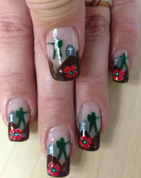 Nails for rememberance day done at merle Norman,kelowna,b.c. canada