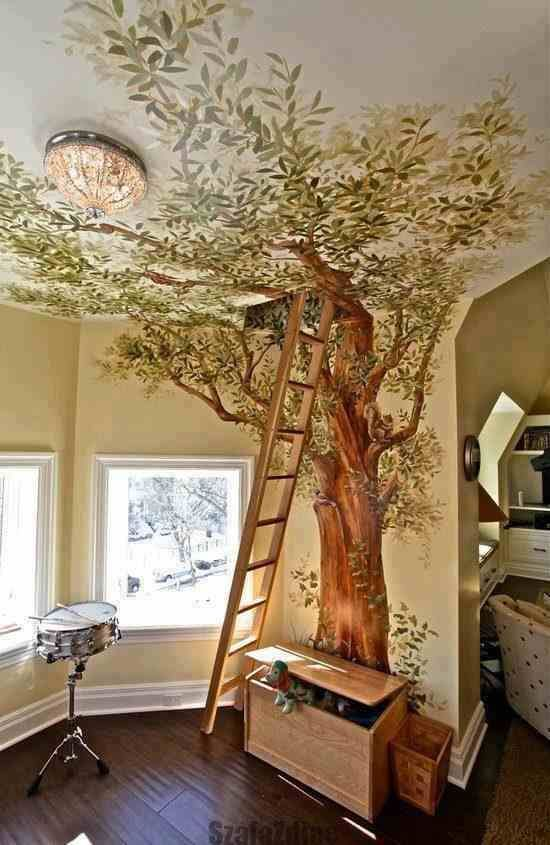 """""""Beautiful and fun interior design! Nature-themed """"treehouse"""" wall art is great for children and young-at-heart adults!"""" I love this! It's so cool, especially if the ladder leads somewhere, like an attic turned playroom or something.."""