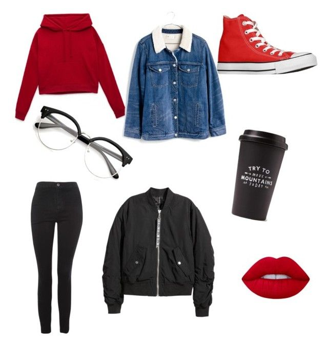 It is raining and the bus is too late by kyrarosie on Polyvore featuring polyvore, fashion, style, H&M, Madewell, Topshop, Lime Crime, Converse and clothing