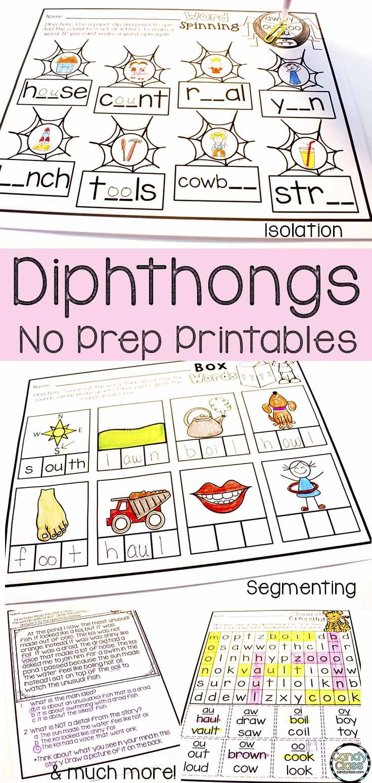 Looking For Some Diphthong Activities That Span Into Segmenting And Blending Sound Isolation Spelling Reading Compreh Phonics Phonics Worksheets Abc Phonics