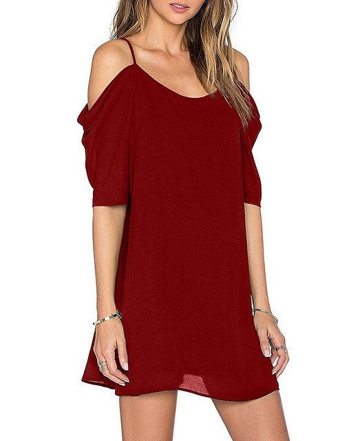 Women's Chiffon Cut Out Cold Shoulder Trumpet Sleeve Spaghetti Strap Dress Top  Price:  $14.99