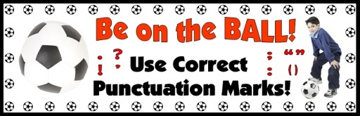 """FREE DOWNLOAD:  5 page bulletin board display banner """"Be On The BALL! Use Correct Punctuation Marks!"""" This banner can be used in your classroom as a title for a bulletin board display that reviews different punctuation marks that you expect your students to use in their own writing.  Download this free 5 page banner on Unique Teaching Resources:  http://www.uniqueteachingresources.com/grammar-teaching-resources.html  (FREE!)"""