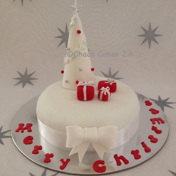 White Christmas fondant cake Christmas cake by Chaos Cakes ZA