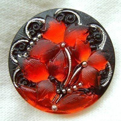 Czech Glass Button  Orange Mirror Back Trillium by ButtonOdyssey, $5.99