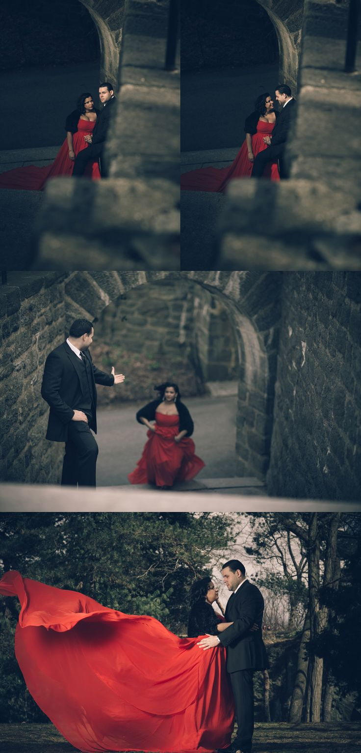 long red dress, dramatic red dress, couple engagement session, black suit, the cloister NYC