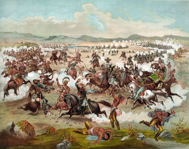 June 25,  1876: BATTLE OF THE LITTLE BIGHORN  -   Native American forces led by Chiefs Crazy Horse and Sitting Bull defeat General George A. Custer's 7th Cavalry Regiment in a bloody battle that annihilated five of the 12 companies, near the Little Bighorn River in eastern Montana, U.S.