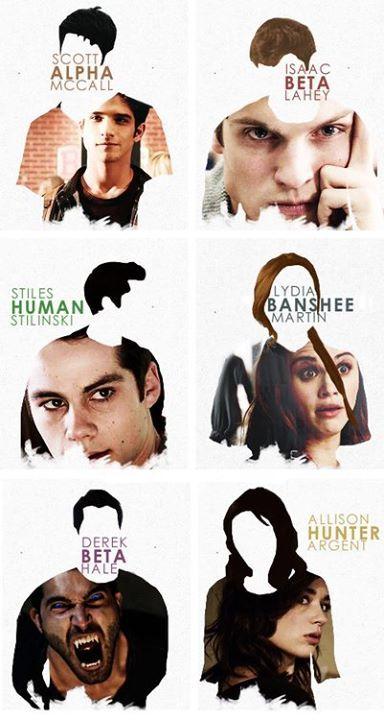 Teen Wolf • Scott McCall - Alpha • Isaac Lahey - Beta • Stiles Stilinski - Human • Lydia Martin - Banshee • Derek Hale - Beta (Alpha) • Alison Argent - Hunter