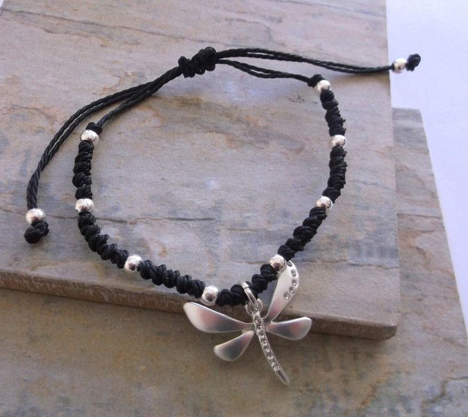 Black+and+Silver+Dragonfly+Friendship+Bracelet+from+ClutchandClasp+by+DaWanda.com