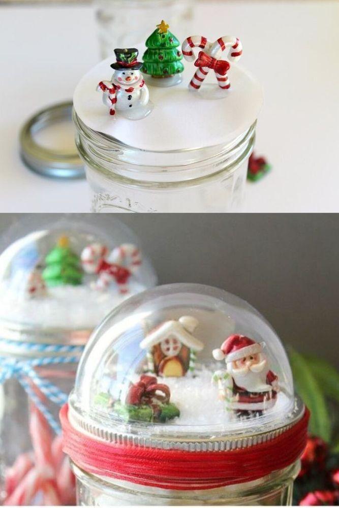 diy christmas mason jar snow globe toppers  christmas