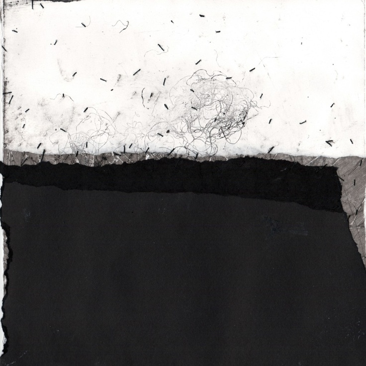 Helen Booth  - Black Tide 38    Paper, Graphite, Oil, Varnish & Thread on paper.  25cm x 25cm 2011