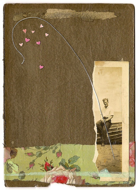 cardboard, hearts, floral, vintage photo