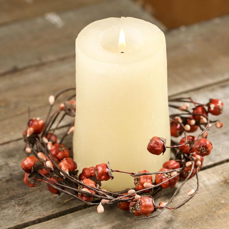 Artificial Pumpkin and Pip Berry Candle Ring