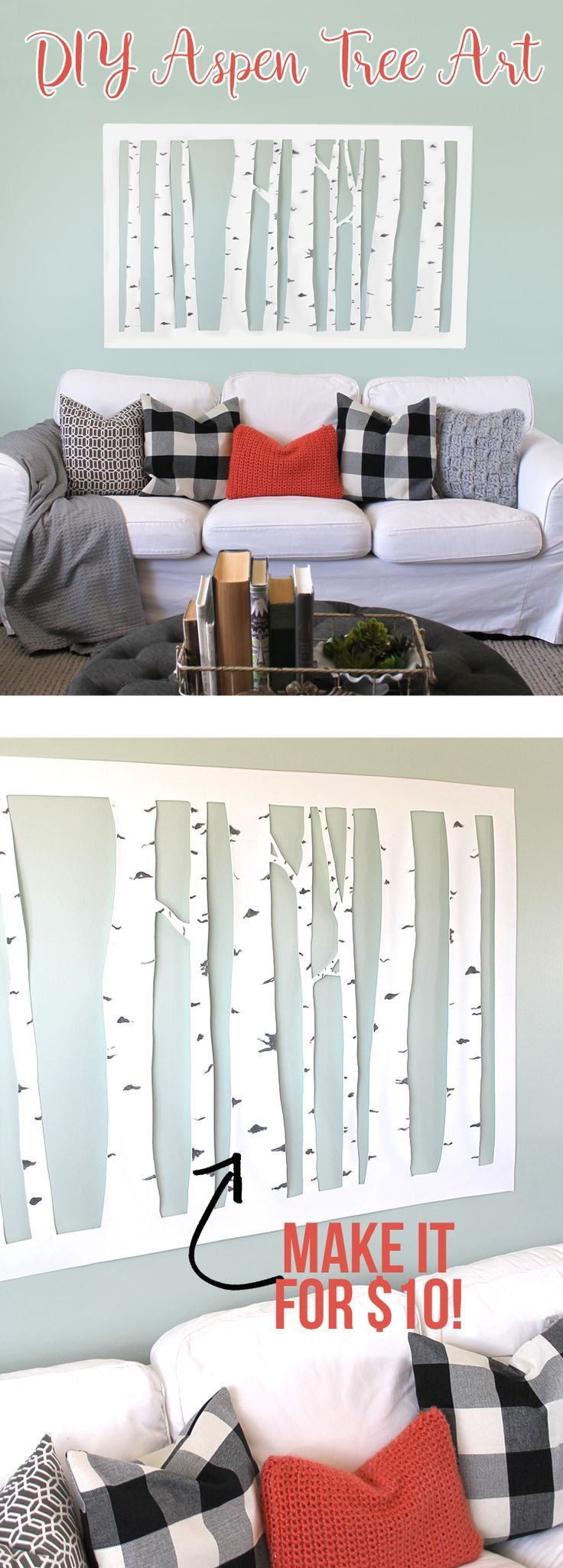 Make this large scale DIY aspen tree wall art in about an hour for less than $10. DIY cheap wall art tutorial. Love this!