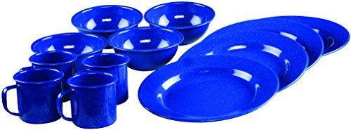 Coleman 12-Piece Enamel Dinnerware Set. For product info go to:  https://all4hiking.com/products/coleman-12-piece-enamel-dinnerware-set/