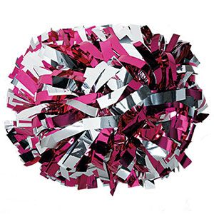 Metallic Hot Pink & Silver Baton Handle Pom by Cheerleading Company
