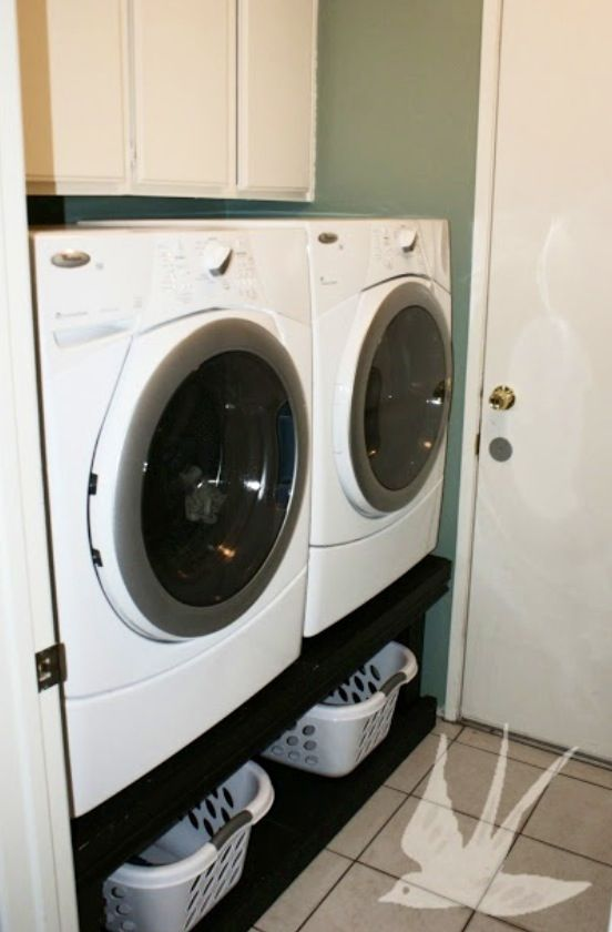 Front Loading Washer And Dryer On Homemade Wooden Pedestal