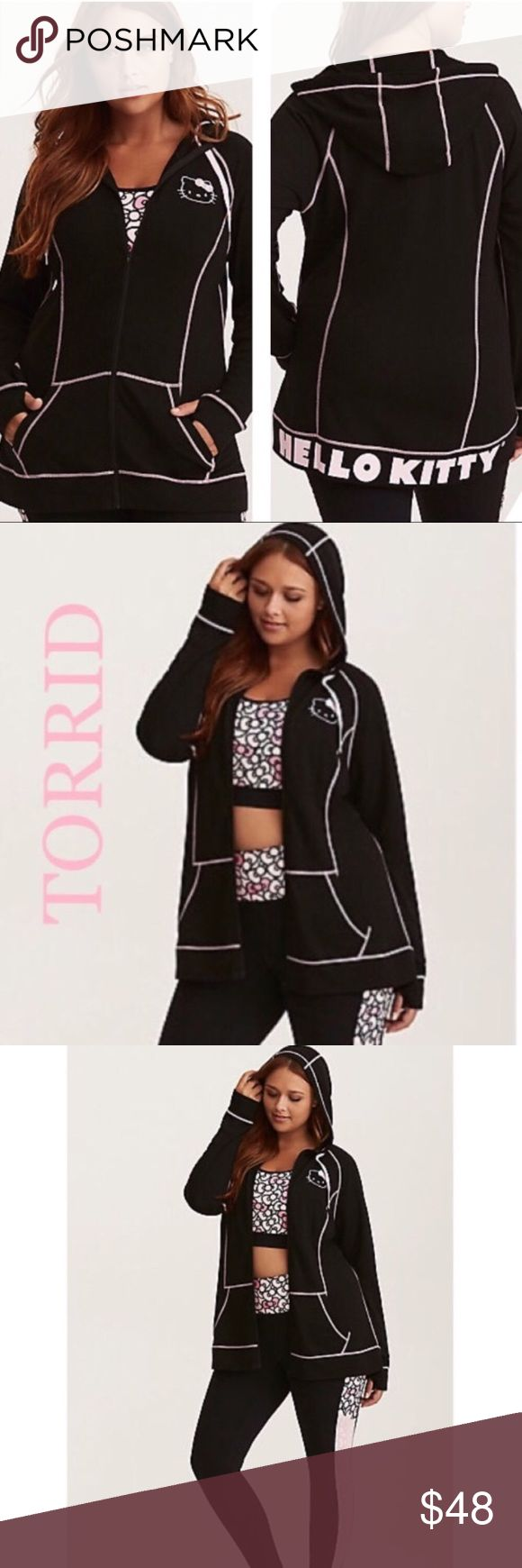 🆕Torrid Hello Kitty hoodie This Torrid lightweight hoodie is easy to throw on and off with an embroidered Hello Kitty head. Side pockets and thumbholes lend functionality with a zip front that keeps it fitted. Comfy drawstring hood that shapes to your head Nylon/spandex 🎀🎀🎀matching sports tops in my closet while they last🎀🎀🎀  New with tags purchased at the Torrid store torrid Tops Sweatshirts & Hoodies