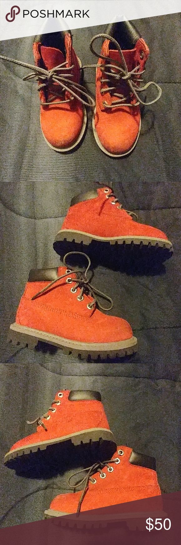 Toddler Boy's Timberland Boots Dark red/burgundy timberlands. Bought for my grandson and he may have worn them once. He also have the black ones (but they need to be cleaned). They is a scuff or discoloration on the front (last picture) but you really can't notice. Excellent condition. No box but will be shipped neatly. Ask any questions! Timberland Shoes Boots
