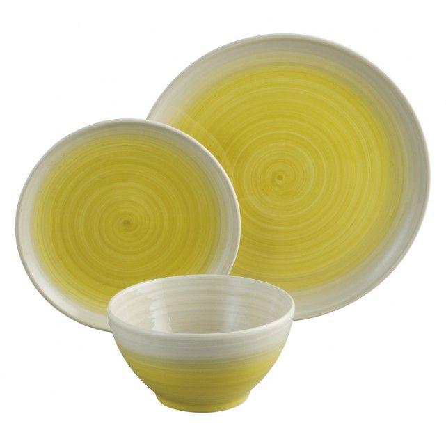 ATKINSON 12-piece yellow dinnerware set