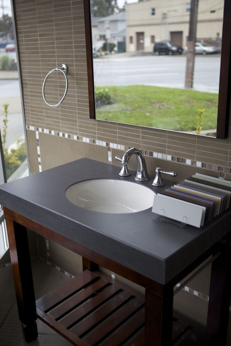 Waterproof Countertop Materials : Black Bathroom Countertop - Arne recommends this faux stone material ...