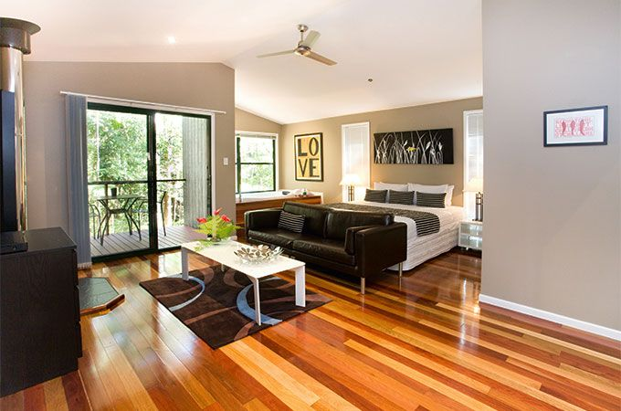 Celebrate your wedding with a three night Sunshine Coast honeymoon in a luxurious Deluxe Cabin at Amore on Buderim.