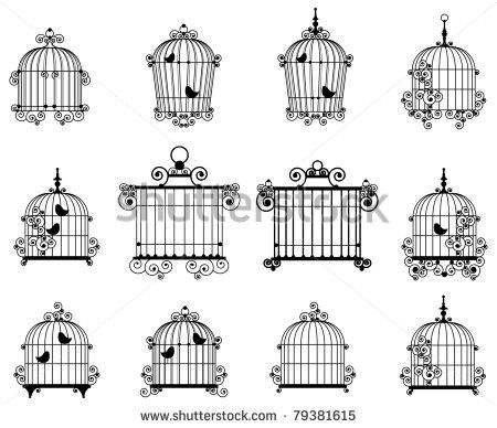 Silhouette of a decorative bird cages