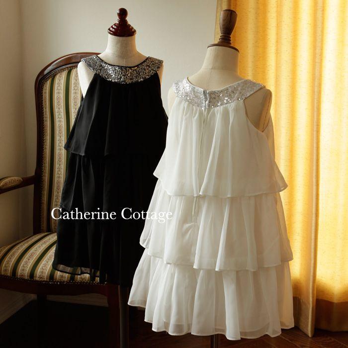 子供ドレス 柔らかなシフォンのラウンドネックティアードドレス 子供フォーマルドレス 結婚式 発表会 SK3707