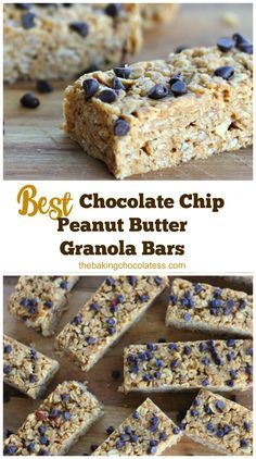 No-Bake Chewy Chocolate Chip Peanut Butter Granola Bars.T hey only take 10 minutes to make and they are loaded with wholesome ingredients like creamy peanut butter, rolled old-fashioned oats, rice krispies, honey, almonds, vanilla and mini chocolate chips.  You can also make these gluten free!  via @https://www.pinterest.com/BaknChocolaTess/