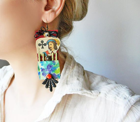 Avant Garde oversized leather earrings with embroidery and