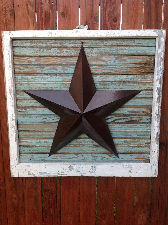 Salvaged Antique Window Frame with Texas Star on Blu/Turquoise Bead Board