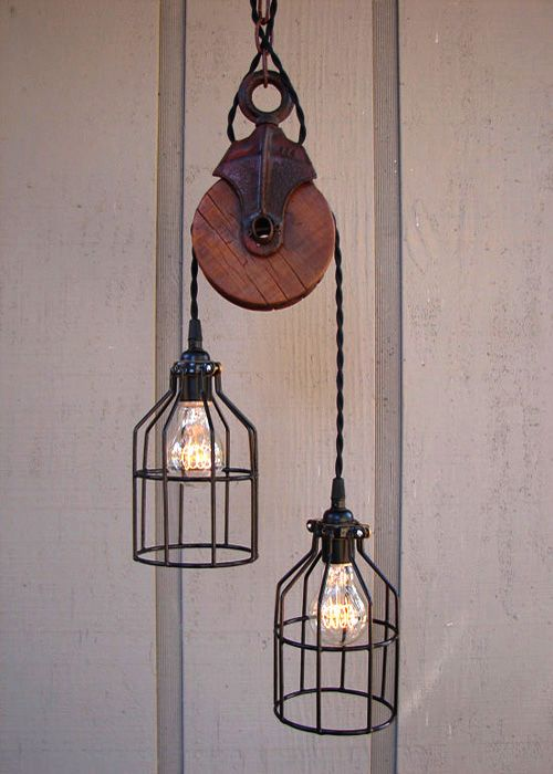 Estilo industrial vintage | Lámpara de polea • Pulley lamp, by BenclifDesigns en etsy