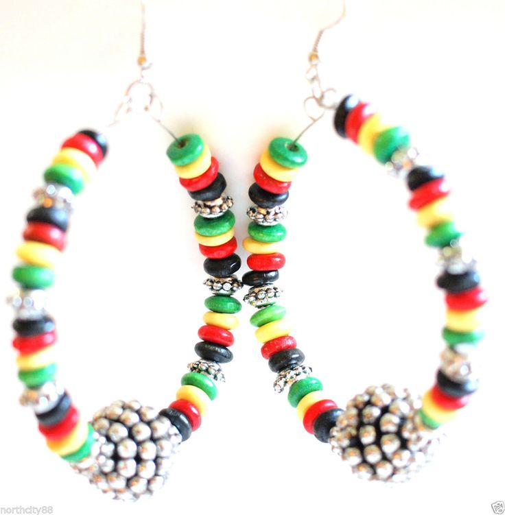 Silver Hoop Earrings Rasta color Basketball Wives Bead hoops disco ball fireball #Hoop