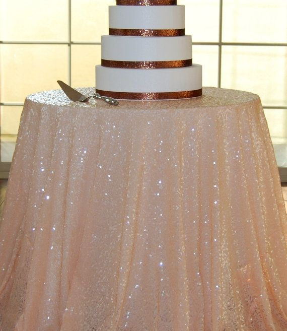 PEACH SEQUIN TABLECLOTH | sim to oval mesh sequin on the go | avail by yd in blush & maybe peach | would look nice over ivory